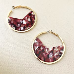 Curved Resin Metal Edged Hoop Earrings
