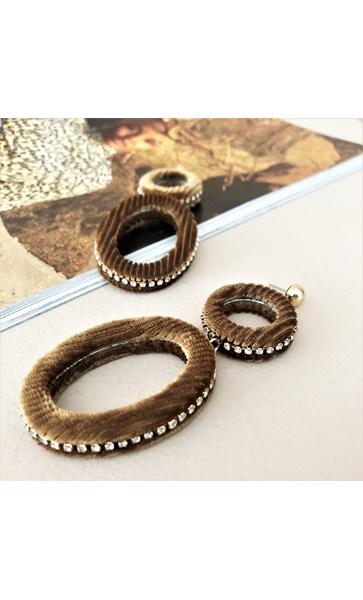 Cord Oval & Ring Diamante Edge Earrings