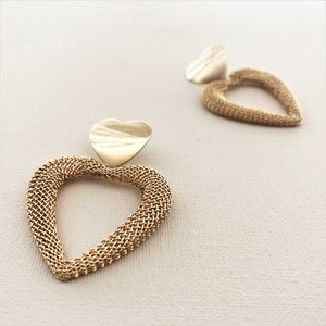 Mesh Love Heart Statement Earrings