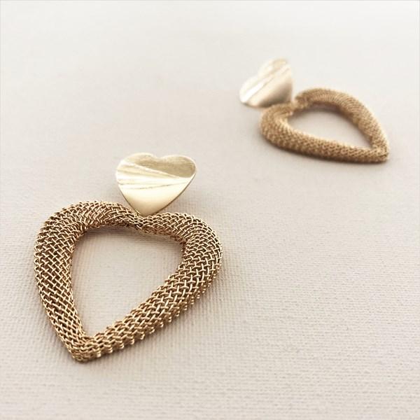 Mesh Love Heart Statement Earrings