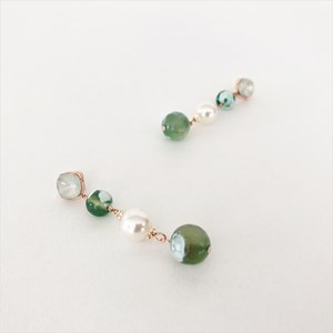 Stone & Pearl Hand Link Drop Earrings