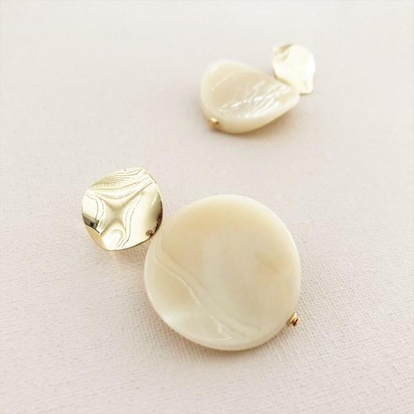 Double Resin Circle Drop Stud Earrings