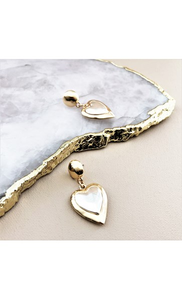 Two Tone Metal Heart Drop Earrings