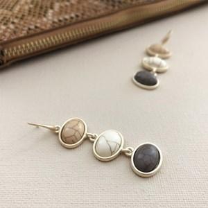 Tri Drop Stone Ovals Drop Hook Earrings
