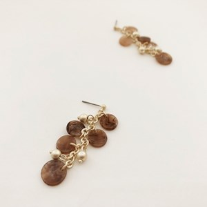 Resin Disks Chain Drop Fine Earrings