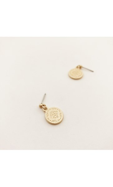 Pitted Disk Drop Stud Earrings