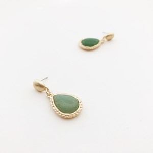 Stone Teardrop Stud Drop Earrings