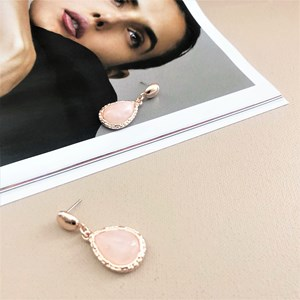 Stone Teardrop Stud Drop Earrings