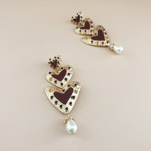 Three Tier Diamante Heart & Pearl Drop Earrings