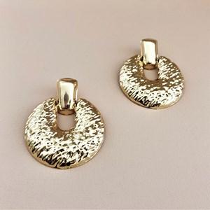 Beaten Metal Ring Front Earrings