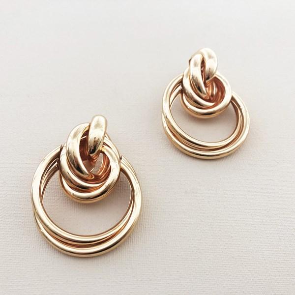 Multi Ring Stud Drop Earrings