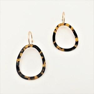 Mini Hoop Resin Oval Earrings