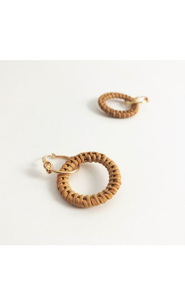 Natural Weave Ring Mini Hoop Earrings