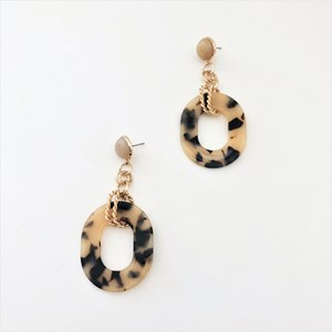 Stone Oval Resin Drop Earrings