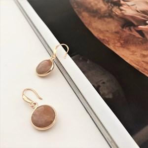 Stone Inset Hook Earrings