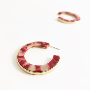 Metal Lined Resin Hoop Earrings