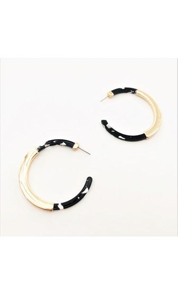 Metal Detail Thin Resin Hoop Earrings