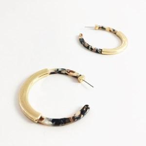 84a35d648 Metal Detail Thin Resin Hoop Earrings