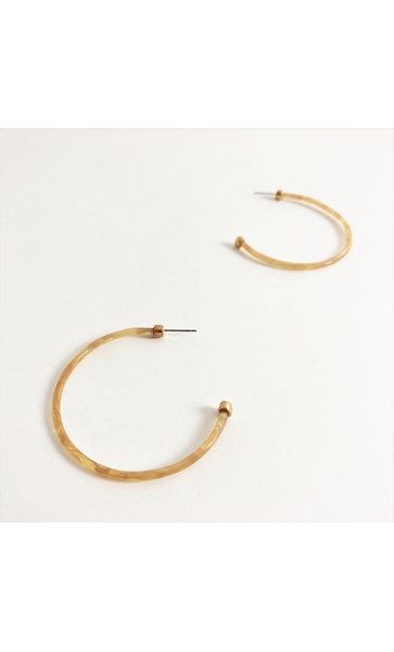 Thin  Resin Metal Ends Hoop Earrings