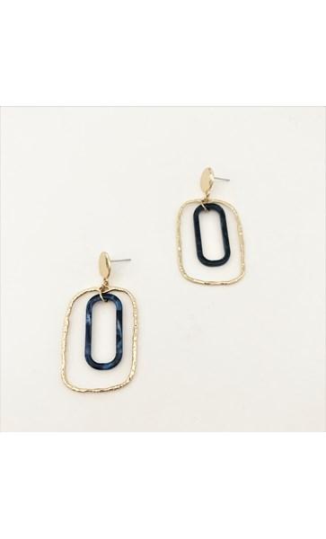 Metal Resin Oval Drops Earrings