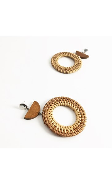 Woven Rings Timber Crescent Earrings