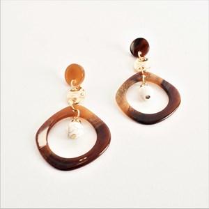 Bead Drop Marbled Resin Earrings