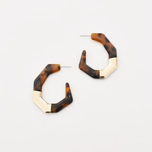 Metal Detail Geo Resin Hoop Earrings