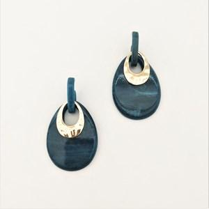 Oval Cut Out Resin Metal Detail Earrings