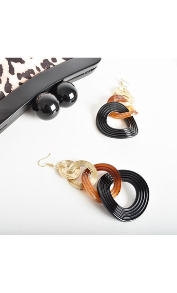 Button Stud Coil Linked Earrings