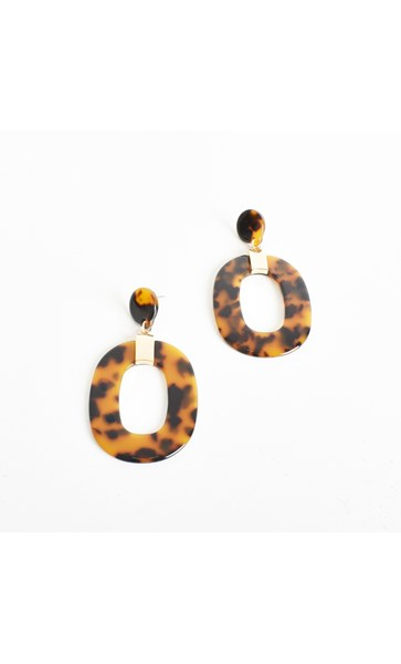 Mod Resin Cut Out Oval Drop Earrings