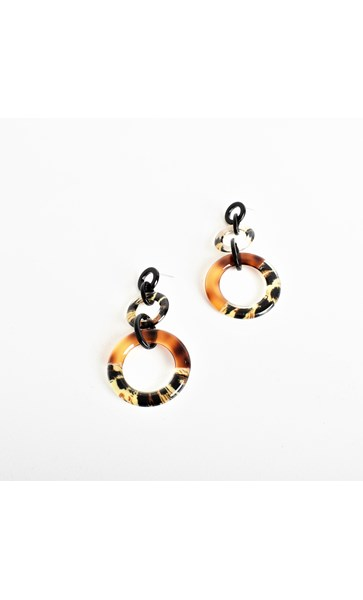Leopard Resin Ring Drop Earrings