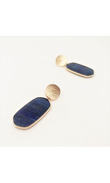 Stone Oval Metal Edge Drop Earrings