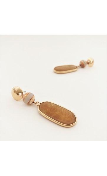 Mixed Stone Double Drop Earrings