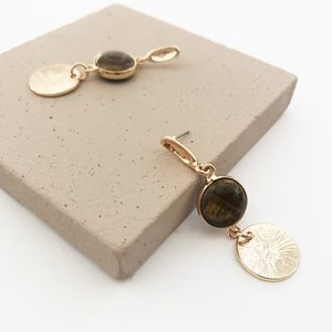 Stone & Beaten Metal Disk Double Drop Earrings