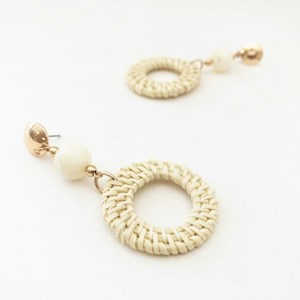 Rattan Ring & Stone Drop Earrings
