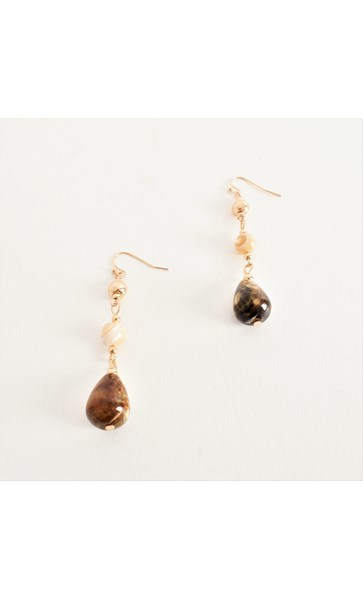 Handlink Stone Mix Drop Hook Earrings