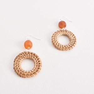 Rattan Ring & Stone Drop Hook Earring