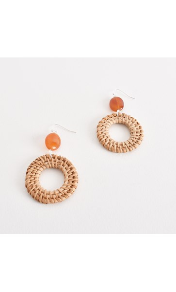 Rattan Ring & Stone Drop Hook Earring