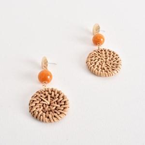 Mini Rattan Disc & Stone Ball Drop Earrings