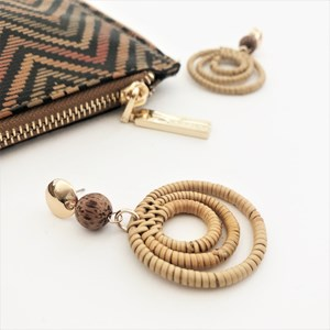 Bangalow Multi Rattan Ring & Timber Ball Earrings