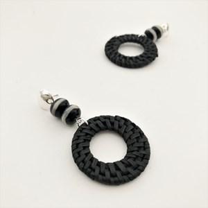 Rattan Ring & Double Stone Balls Drop Earrings