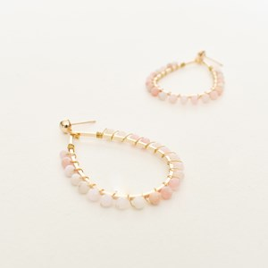 Wired Bead Edge Teardrop Earrings