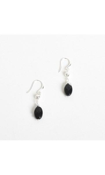 Metal Stone Bead Hook Earrings