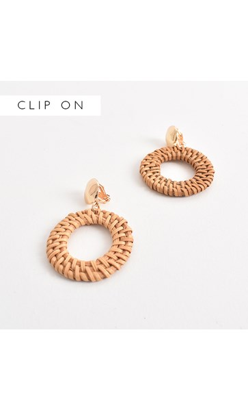 Rhianna Rattan Ring Clip On Earrings