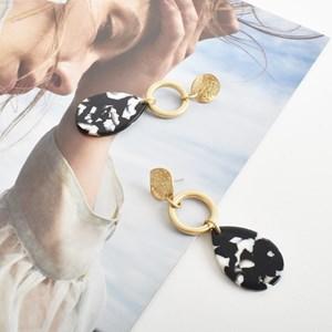 Metal Resin Button Top Earrings