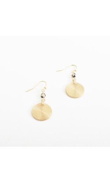 Stone Metal Drop Hook Earrings