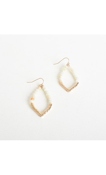 Beaded Metal Teardrop Hook Earrings
