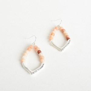 Beaded Metal Teardrop Hook Earrings