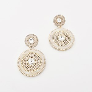 Double Drop Diamante Edge Earrings