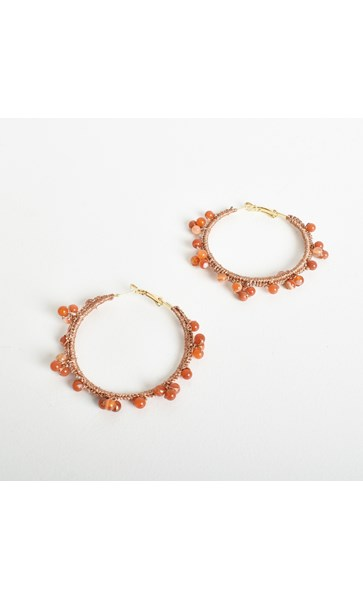 Beaded Edge Crochet Hoop Earrings